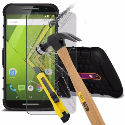 Itronixs - Motorola Moto G Rugged Heavy Duty Armour Shock Proof Hard Stand Case Cover with Tempered Glass