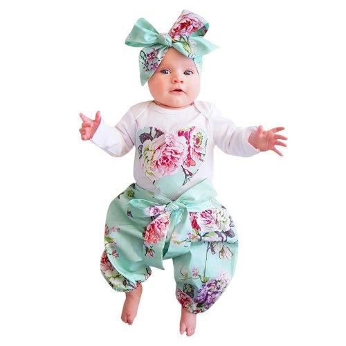 2017 Newborn Toddler Infant Rompers Kids Baby Girl Floral Clothes Jumpsuit Bodysuit +Pants +Bow Headband 3pcs Outfit Set Clothes