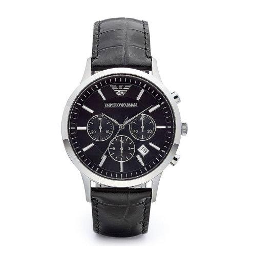 Emporio Armani AR2447 Men's steel Black Leather Strap Dial Watch