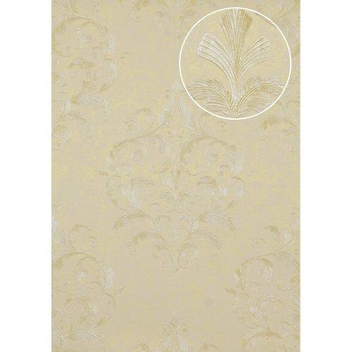 Atlas ATT-5082-4 Baroque wallcovering wall shiny beige white 7.035 sqm
