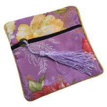 2PCS Embroidery Purse Coins Jewelry Pouch Zipper Bag Stylish Gift, Purple