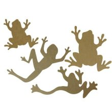 Set of 4 Large Lasercut Wooden Frog Shapes