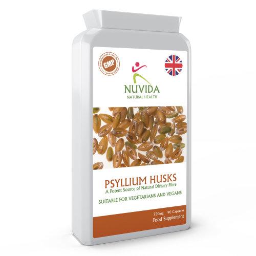 Psyllium Husk / 750mg x 90 Capsules / Natural Dietary Fibre