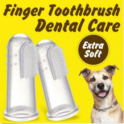 3PCS Soft Pet Finger Toothbrush Remove Bad Breath Tartar Teeth Care Dog Cat Clean