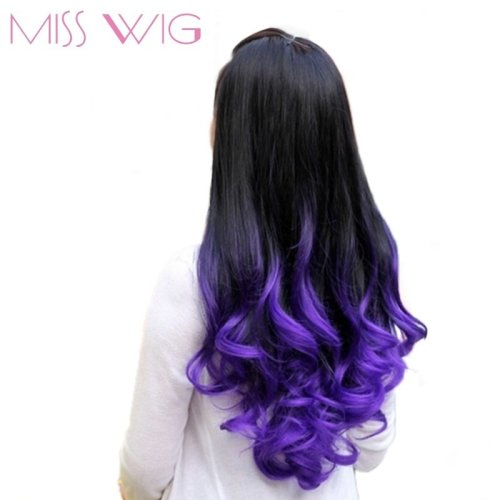 Long Wavy Half Wigs Purple Ombre 7 Color Available Synthetic None Lace Wigs For