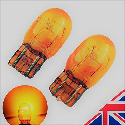 2X AMBER ORANGE T20 7443 580 W21/5W DRL Side Halogen Headlight Bulbs 6000k(PAIR)