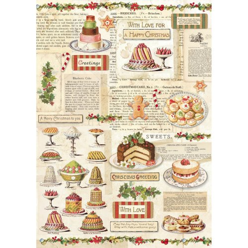 Stamperia Rice Paper Sheet A4-Christmas Vintage Patisserie