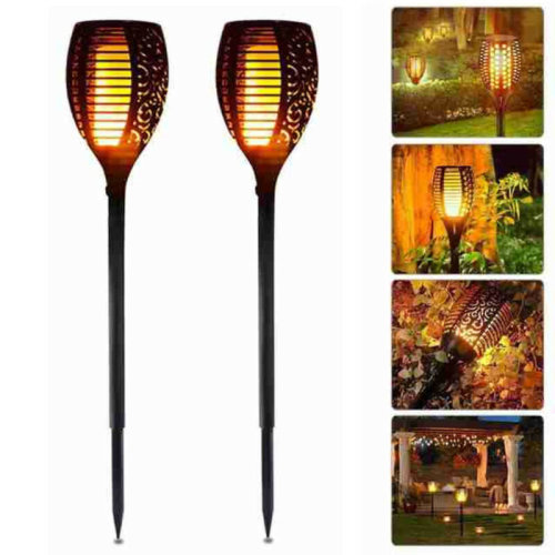 2Pcs LED Solar Powered Path Flickering Torch Light Flame Garden Landscape Stake