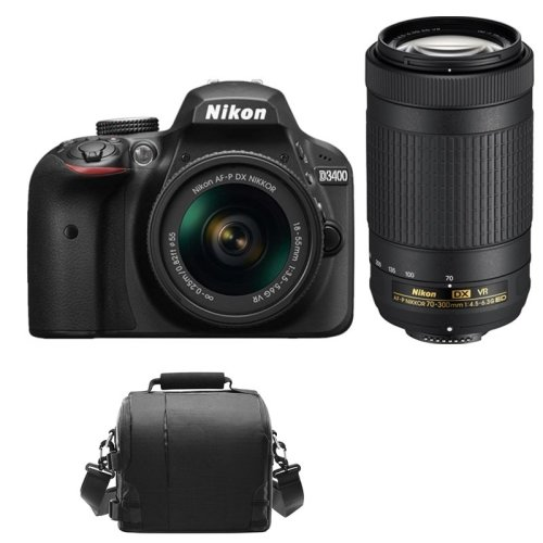 NIKON D3400 Black KIT AF-P 18-55mm VR+AF-P 70-300mm F4.5-6.3 ED VR+Bag