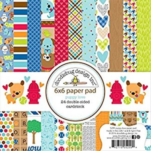 Doodlebug PL5299 6 x 6 in. Double-Sided Paper Pad - Puppy Love
