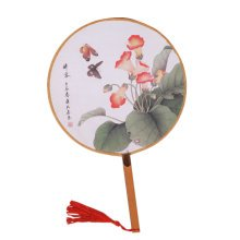 2PCS Elegant Round Hand Fan Chinese Fan Print Decor Bamboo Handle, No.9
