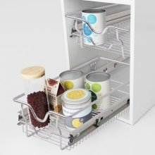 vidaXL 2pc Pull-Out Wire Baskets | Sliding Kitchen Storage Baskets