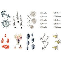 10 Sheets Fashion Body Art Stickers Removable Waterproof Temporary Tattoos ( L )