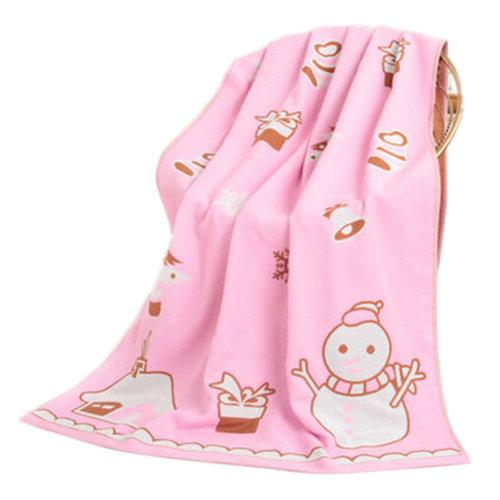 Large Soft Beach Towels 140*70cm Snowman Pattern, Pink