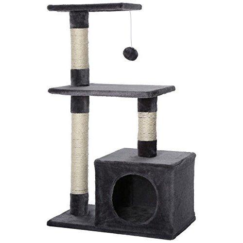 dibea Cat Tree Activity Centre Sisal Climbing Toy, 80 cm, Grey