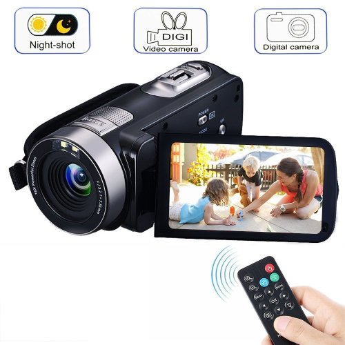 Digital Video Camcorder Camera with IR Night Vision, VPRAWLS 1080P Full HD 24.0 Mega Pixels 16X Zoom Portable Mini Handheld Video Camera Recorder...