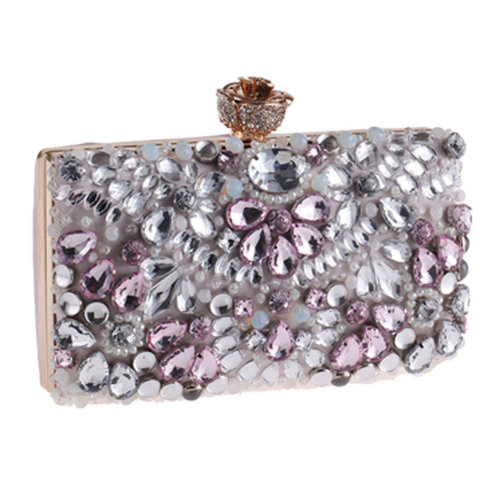 Women's Vintage Style Clutch Evening Bag Elegant Beaded Bag Luxurious Handbag Purse Cocktail Party,H