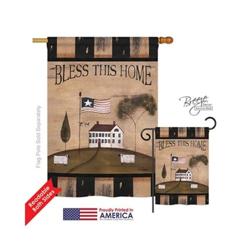 Breeze Decor 00043 Welcome Bless This Home 2-Sided Vertical Impression House Flag - 28 x 40 in.