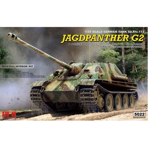 1:35 Sd.Kfz.173 Jagdpanther G2 with full interior, workable track links & Resin Figure Military Model Kit