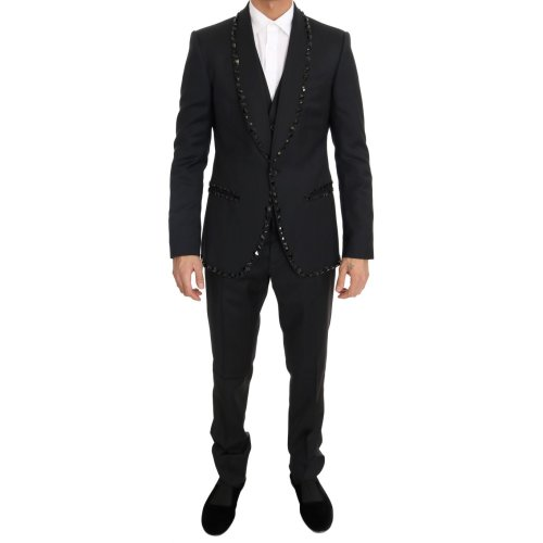 Dolce & Gabbana Black Wool Crystal Slim Fit 3 Piece Suit
