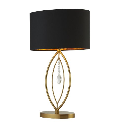 Searchlight Crown Gold Table Lamp Black Oval Shade Gold Interior Shade
