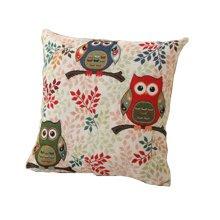 Owls Theme Cotton Linen Decorative Pillow Case Cushion Case Owls and Branch