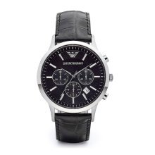 Emporio Armani AR2447 Men's steel Black Leather Strap Dial Watch