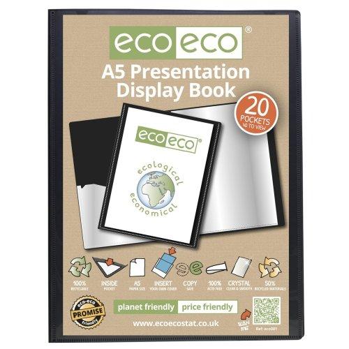 36 x A5 Recycled 20 Pocket(40 Views) Presentation Display Book - Black