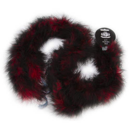"Zucker Marabou Feather Boa Tipped Medium Weight 72""-Red & Black"