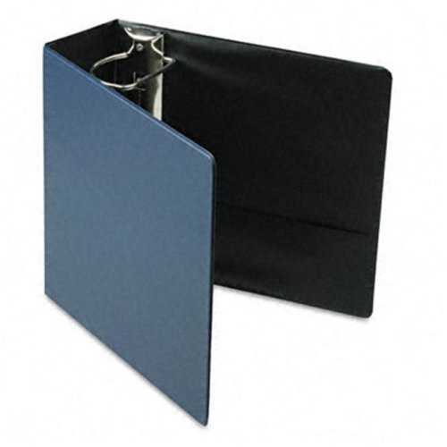 Recycled Leather Grain Vinyl EasyOpen D-Ring Binder  4in Cap  Navy