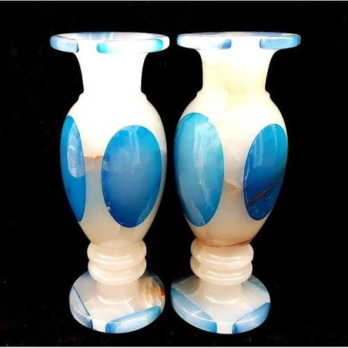 Pair of Onyx Marble Vases Gemstone Ornaments