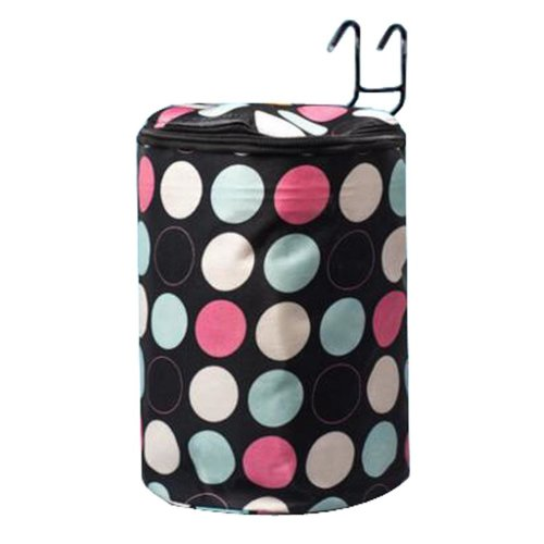[Colorful Dot] Waterproof Canvas Bicycle Basket Foldable Lidded Basket for Bike