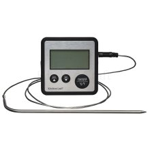 0 To 250 Deg C Digital Cooking Thermometer And Timer - Kitchen Craft Probe -  digital timer thermometer kitchen cooking craft probe kitchencraft