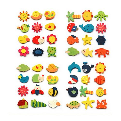 48 Lively Animal & Plant Magnets Nature Wooden Magnets for Kids