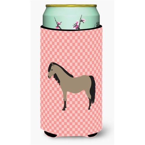 Carolines Treasures BB7910TBC Welsh Pony Horse Pink Check Tall Boy Beverage Insulator Hugger