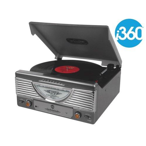 i360 Record Player Turntable Premium Vinyl Player - FM Radio & Built-in Speakers Converts Vinyl into MP3 Digital Files (Grey)