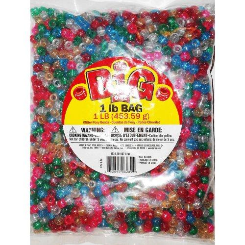Darice Plastic Pony Beads 9mm 1lb-Glitter