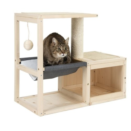 Wooden Indoor Cat House Hammock Scratching Pad Hideaway Den Bed