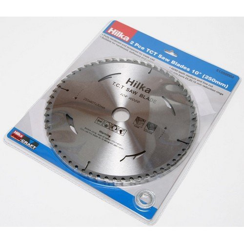 "Hilka 51250002 TCT Circular Saw Blades 10"" 250mm Pack of 2 Assorted Teeth"