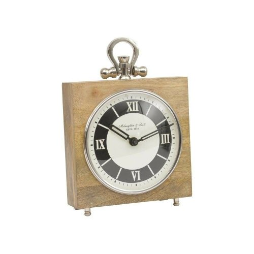 Libra Natural Mango Clock Wood And Nickel Square Mantel Time Roman Numerals