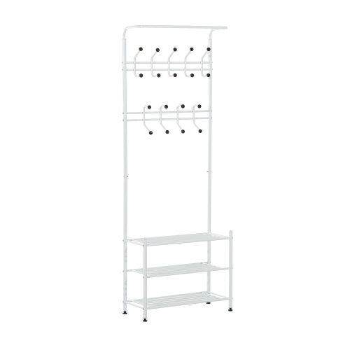 Homcom Multi-purpose Metal 18 Coat Hooks Shoes Rack Clothes Organiser Umbrella Stands - White