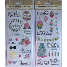 Watercolour Stickers Wedding Birthday Self Adhesive Craft Card Art Invite Letter