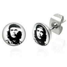 Urban Male Stainless Steel Stud Earrings with Che Guevara Design