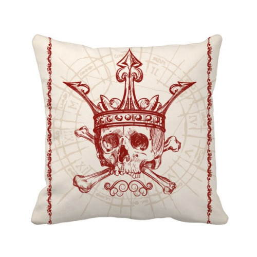 Hearts Spade Red Crown Skeleton Poker Card Throw Pillow Square Cover