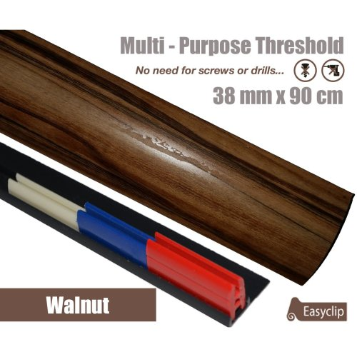 Walnut Multi Purpose Threshold Strip 38x90cm Adhesive Clip System