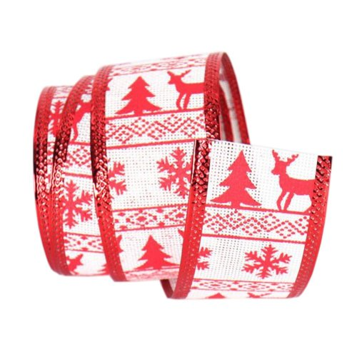 Red, Party Supply [Snowflake and Christmas Tree] Decor Ribbon