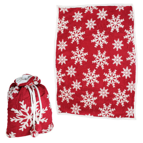 Christmas Throw Blanket.Deluxe Christmas Throw Blanket In A Bag Super Soft 150cm X 120cm Red Snowflakes