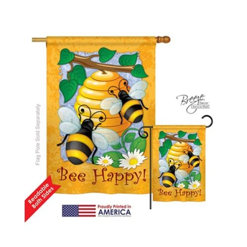 Breeze Decor 04077 Bee Happy 2-Sided Vertical Impression House Flag - 28 x 40 in.