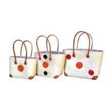 Madagascar Set of 3 Cream Raffia Hanta Swirl Baskets