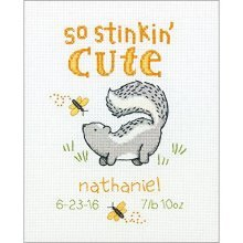 "Stinkin' Cute Birth Record Counted Cross Stitch Kit-8""x10"" 14 Count - Baby -  counted cross stitch cute baby stinking presorted thread205 x 255cm"